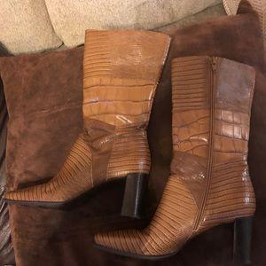 Via Spiga Italian leather snakeskin booties Sz 7.5